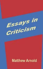 Another cover of the book Essays in criticism by Matthew Arnold