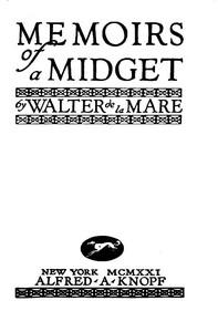 Cover of the book Memoirs of a midget by Walter De la Mare