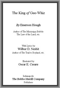 Cover of the book The king of Gee-Whiz by Emerson Hough