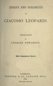Cover of the book Essays and dialogues by Giacomo Leopardi