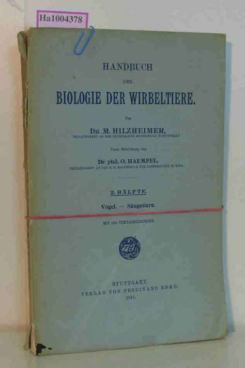 Cover of the book Handbuch der Biologie der Wirbeltiere by Max Hilzheimer