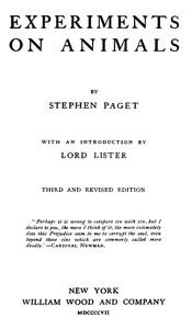 Cover of the book Experiments on animals by Stephen Paget
