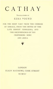 Cover of the book Cathay by Ezra Pound