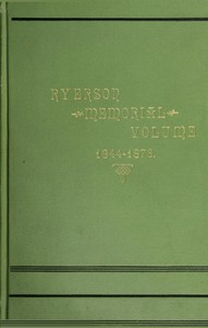 Cover of the book Ryerson memorial volume: prepared on the occasion of the unveiling of the Ryerson statute in the grounds of the Education department on the Queen's by J. George (John George) Hodgins