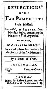 Cover of the book Reflections upon Two Pamphlets Lately Published by Anonymous