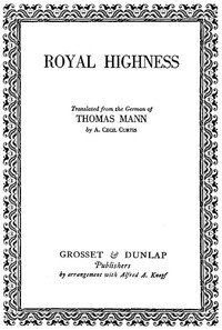 Cover of the book Royal Highness by Thomas Mann