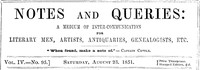 Cover of the book Notes and Queries, Vol. IV, Number 95, August 23, 1851 by Various