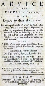 cover for book Advice to the people in general, with regard to their health