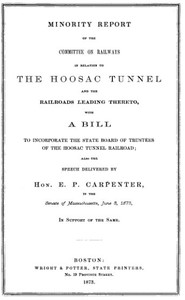 Cover of the book Minority Report of the Committee on Railways in Relation to the Hoosac Tunnel and the Railroads by Massachusetts General Court