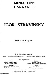 Cover of the book Miniature essays: Igor Stravinsky by Anonymous
