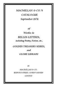 Cover of the book Macmillan & Co.'s Catalogue September 1874 by Various