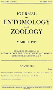 Cover of the book Journal of Entomology and Zoology, Vol. 11, No. 1, March 1919 by Various