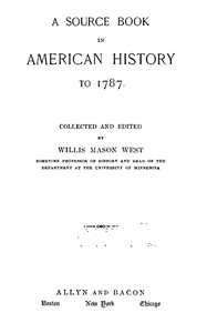 Cover of the book A Source Book in American History to 1787 by Various