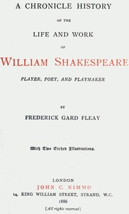 Cover of the book A Chronicle History of the Life and Work of William Shakespeare by Frederick Gard Fleay