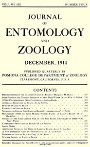 Cover of the book Journal of Entomology and Zoology: Volume 6, Number 4, December 1914 by Various