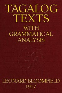cover for book Tagalog Texts with Grammatical Analysis