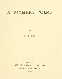 cover for book A Summer's Poems