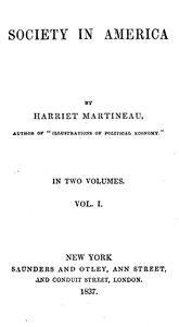 Cover of the book Society in America, Volume 1 (of 2) by Harriet Martineau