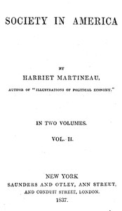 Cover of the book Society in America, Volume 2 (of 2) by Harriet Martineau