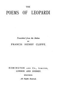 cover for book The Poems of Leopardi