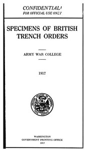 Cover of the book Specimens of British Trench Orders by Anonymous