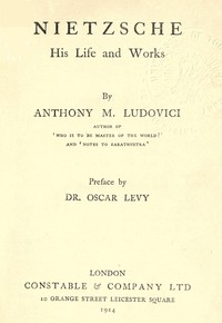 Cover of the book Nietzsche by Anthony M. (Anthony Mario) Ludovici