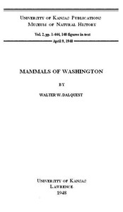 Cover of the book Mammals of Washington, Volume 2 by Walter Woelber Dalquest
