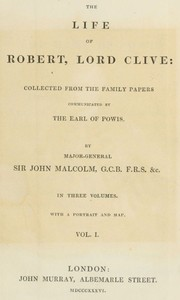 cover for book The Life of Robert, Lord Clive, Vol. I (of 3)