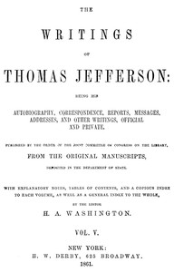 cover for book The Writings of Thomas Jefferson, Vol. 5 (of 9)