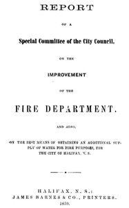 cover for book Report of a special committee of the City Council, on the improvement of the Fire Department