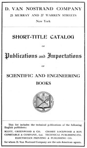 cover for book Short-Title Catalog of Publications and Importations of Scientific and Engineering Books