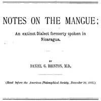 cover for book Notes on the Mangue: An extinct Dialect formerly spoken in Nicaragua