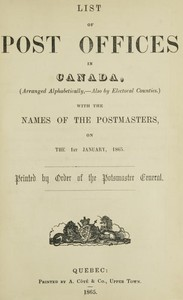 cover for book List of Post Offices in Canada 1865