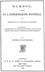 cover for book Bamboo, Considered as a Paper-making Material