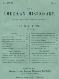 cover for book The American Missionary — Volume 33, No. 06, June, 1879