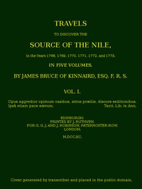 cover for book Travels to Discover the Source of the Nile, Volume I