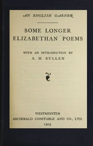 cover for book Some Longer Elizabethan Poems