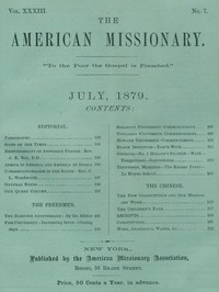 cover for book The American Missionary — Volume 33, No. 07, July, 1879