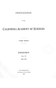 cover for book Proceedings of the California Academy of Sciences, Series 3, Volume 4 (Zoology)