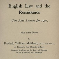 cover for book English Law and the Renaissance