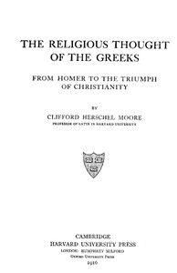 cover for book The Religious Thought of the Greeks