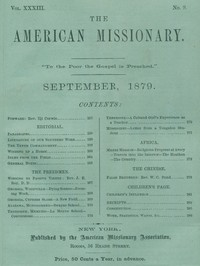 cover for book The American Missionary — Volume 33, No. 09, September, 1879