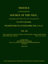 cover for book Travels to Discover the Source of the Nile. Volume 3