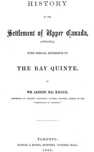 cover for book History of the settlement of Upper Canada (Ontario,)