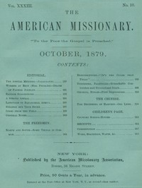 cover for book The American Missionary — Volume 33, No. 10, October, 1879