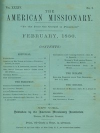 cover for book The American Missionary — Volume 34, No. 02, February, 1880