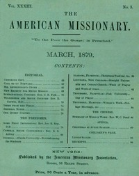 cover for book The American Missionary — Vol. 33, No. 3, March, 1879