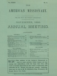 cover for book The American Missionary, Volume 34, No. 11, November 1880