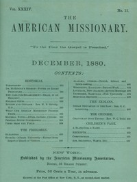 cover for book The American Missionary, Volume 34, No. 12, December 1880