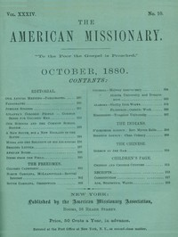 cover for book The American Missionary — Volume 34, No. 10, October, 1880